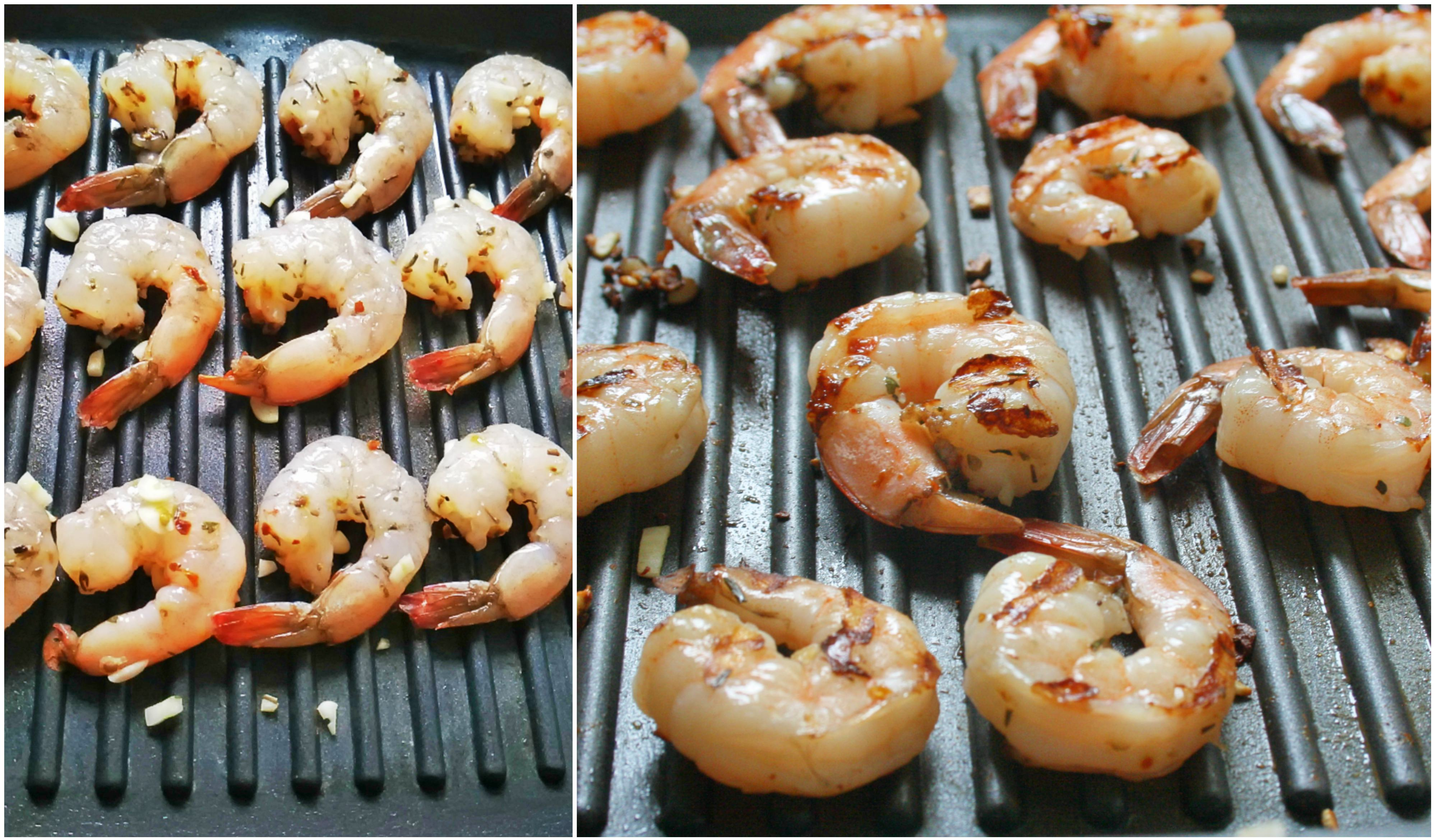 Cooking Marinated Prawns